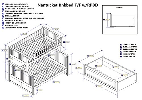 Atlantic Furniture Nantucket Bunk Bed Twin Over Full With