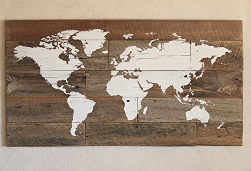 Barn wood world map in large size for travelers for Kitchen cabinets lowes with antique world map wall art