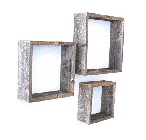 Barnwoodusa Reclaimed Wooden Shelves Set Of 3 8x8 10x10 12x12 Weathered Gray Driftwood