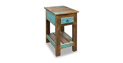 Crafters And Weavers La Boca Rustic Solid Wood Chair Side Table
