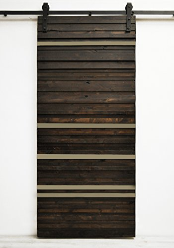 Dogberry Collections Line Em Up Barn Door 48 W X 96 H Dark Chocolate Stain With Gray Paint Accent