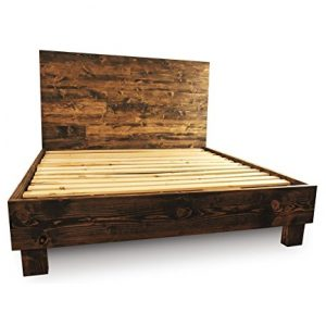 farmhouse bed frame and headboard set reclaimed style rustic and old world - Driftwood Bed Frame