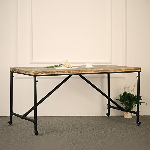 IKAYAA Antique Kitchen Dining Table Metal Hall Meeting Table Studio - Desk with meeting table