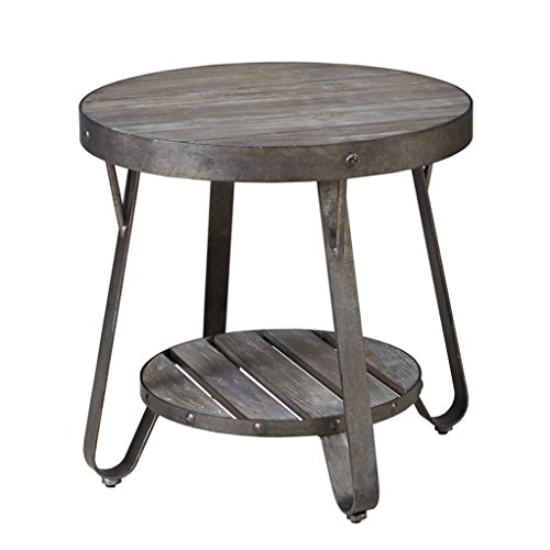 End Table Accent Furniture Wood Round Finish Side Living: Modern Driftwood Rustic Gray Wood And Metal 24 Inch Round