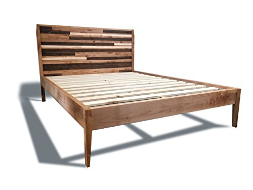 51496d1119e2 Modern Platform Bed Frame with Mosaic Paneled Headboard – Reclaimed Wood  Style – Mid-Century Modern – Old-World
