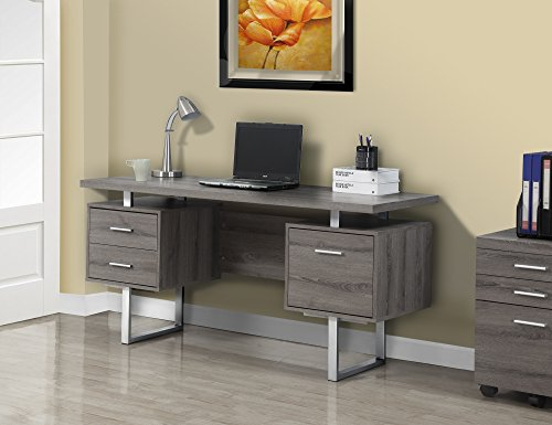Monarch Specialties Dark Taupe Reclaimed Look Silver Metal