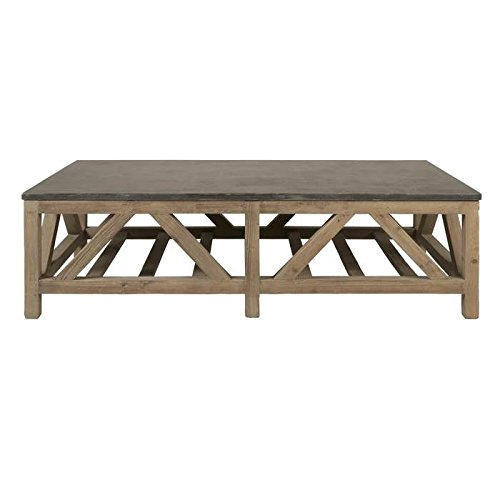 Coffee Table With Bluestone Top: Natural Blue Stone Slab Top Coffee Table With Reclaimed