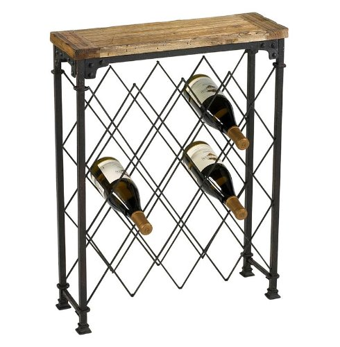 Reclaimed Wood Oxidized Iron Wine Rack Console Table Driftwood
