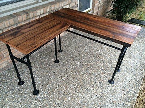 rustic reclaimed barn wood l desk table solid oak w 28. Black Bedroom Furniture Sets. Home Design Ideas