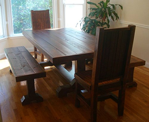 Peachy Rustic Trestle Table Set W 2 Benches And 2 Chairs Reclaimed Wood Interior Design Ideas Gentotryabchikinfo