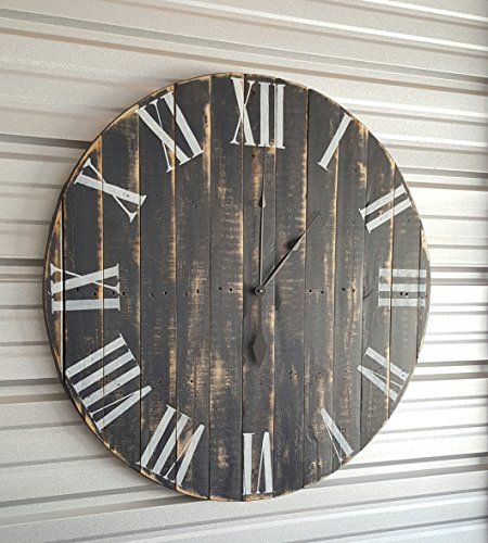24in Clic Farmhouse Clock With Dark Gray Distressed Finish And White Roman Numerals Fixer Upper Reclaimed Wood Shabby Chic