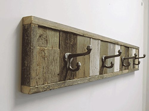 3 Ft Rustic Barnwood Panel Towel Hook Rack 4 Hook Wall