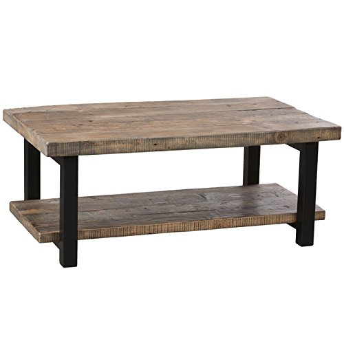 Alaterre Pomona 42 Wide Rustic Coffee Table Driftwood Furnitures: wide coffee table