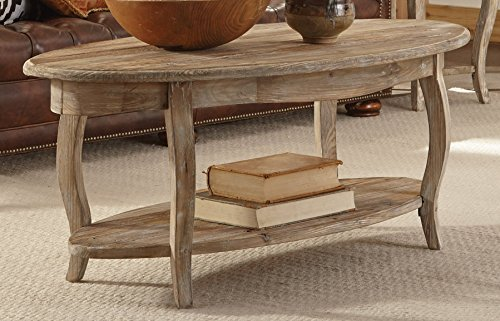 Alaterre Rustic Reclaimed Oval Coffee Table Driftwood Brown Driftwood Furnitures