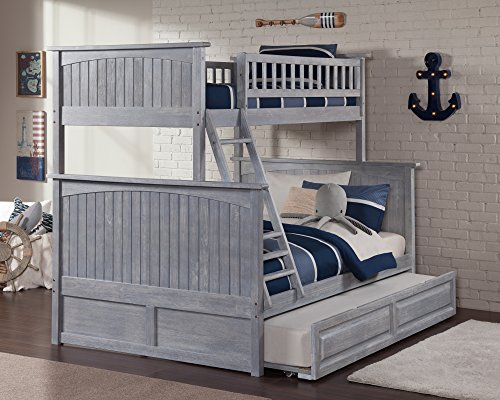 Atlantic Furniture Nantucket Bunk Bed Twin Over Full With Raised Panel Trundle In