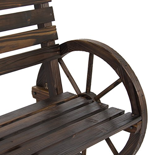 Best Choice Products Patio Garden Wooden Wagon Wheel Bench