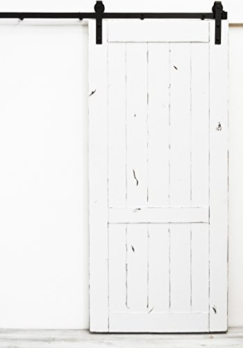 Dogberry Collections Country Vintage Sliding Barn Door 36 W X 82 H Lightly Distressed White Paint