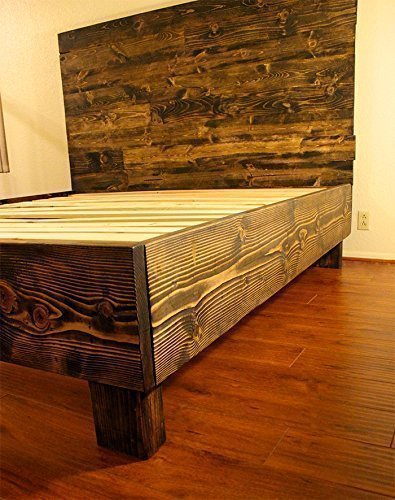 Farmhouse Bed Frame And Headboard Set Reclaimed Style Rustic And Old World Driftwood
