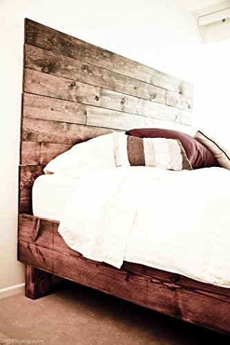 Farmhouse bed frame and headboard set reclaimed style for Old world style beds