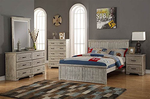 Full Panel Bed In Distressed Driftwood Finish Driftwood