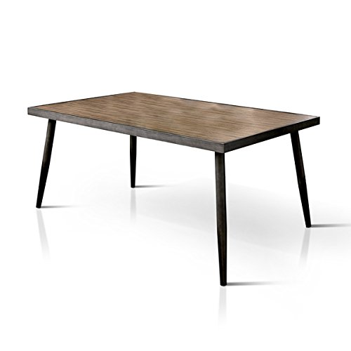 mid century modern industrial style metal 64 inch dining table 0 1