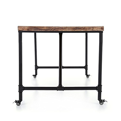 Ikayaa antique kitchen dining table metal hall meeting for Wood and metal kitchen table