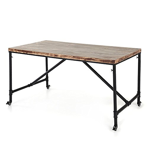 IKAYAA Antique Kitchen Dining Table Metal Hall Meeting  : IKAYAA Antique Kitchen Dining Table Metal Hall Meeting Table Studio Desk Industrial Style Natural Pine Wood and Steel 59 L x 314 W X 301H 0 from driftwoodfurnitures.com size 500 x 500 jpeg 22kB