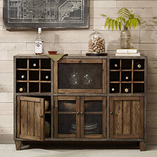 Rustic Vintage Liquor Storage Wine Rack Cart Metal Frame With Drawers And Doors In Reclaimed Wood Finish Sideboard Buffet