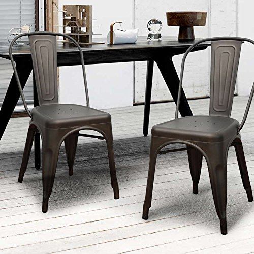 Metal Dining Chairs with Back Set of four, Homebeez 2016 ...