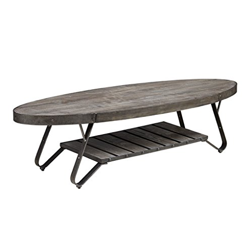 Modern driftwood rustic gray wood and metal 56 inch oval for Gray wood and metal coffee table