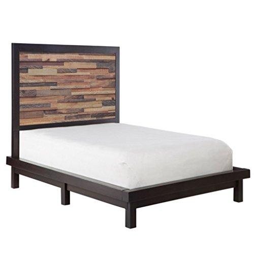 Modern Wood Mosaic King Platform Bed With Panel Headboard