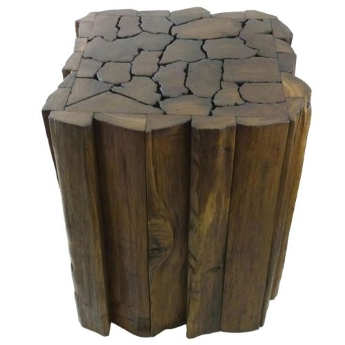 Awe Inspiring Reclaimed Teak Wood Jigsaw Stool Accent Table Caraccident5 Cool Chair Designs And Ideas Caraccident5Info