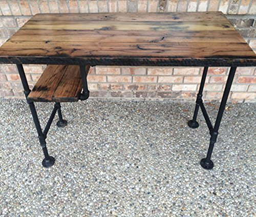 Reclaimed Wood Desk Table Rustic Solid Oak W 28 Quot Black