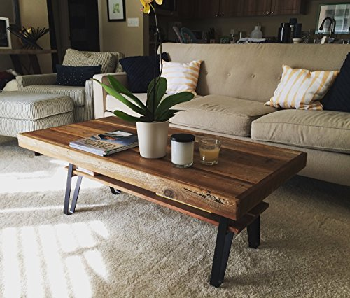 Reclaimed Wood Farmhouse Coffee Table With Flatiron Legs
