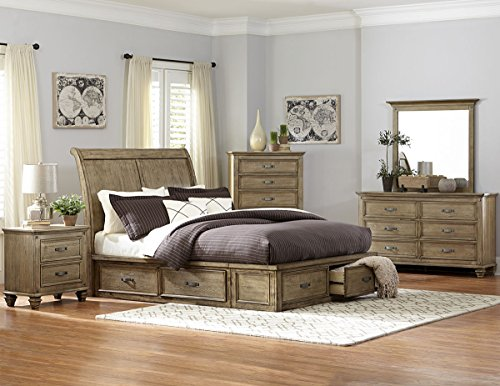 Rustic Driftwood Finish Bedroom Furniture with or without Storage -  Sylvania (Queen Bed with Storage)