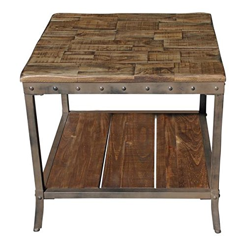 Rustic Vintage Wooden Metal Side End Sofa Table Country Industrial Antique Di