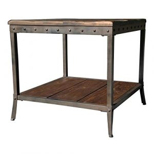 rustic vintage wooden metal side end sofa table country industrial antique distressed reclaimed wood look sofa couch coffee tables living room dining - Bedroom End Tables