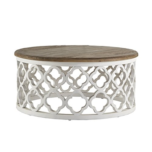 Signal Hills Vince Reclaimed Wood Moroccan Trellis Drum Coffee Table