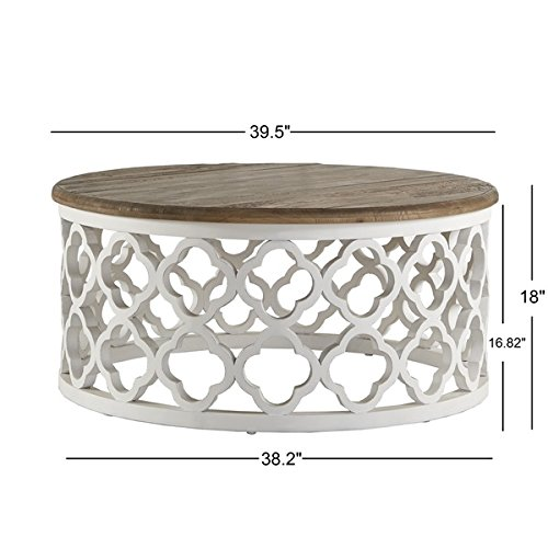 Signal Hills Vince Reclaimed Wood Moroccan Trellis Drum Coffee Table Driftwood Furnitures