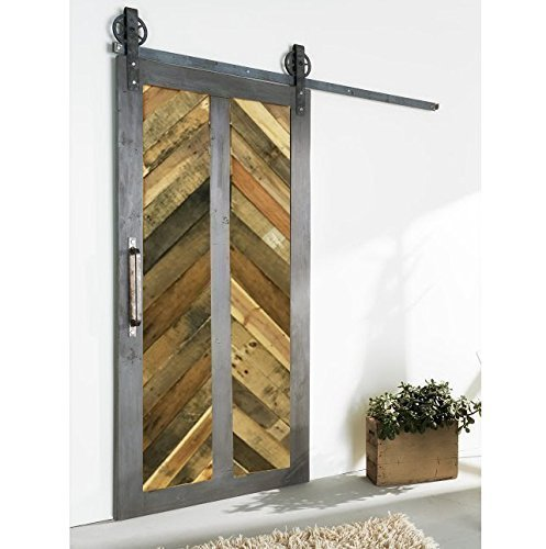 vertical reclaimed wood chevron sliding barn door