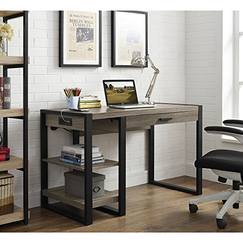 We Furniture 48 Quot Industrial Wood Storage Computer Desk