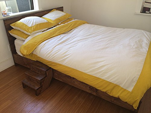 Wooden platform bed frame and headboard modern and for Old world style beds